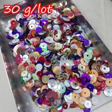 30G/lot Color mixing Mixed size 4-8mm Round Concave Cup Spangle Sequins Paillettes Sewing Flat Back Crafts Clothing Supplies(China)