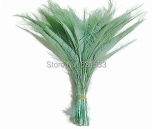 Mint Feathers,100Pcs/Lot- AQUA GREEN BLEACHED Peacock Swords Cut Feathers,30-40cm,Peacock Feathers for Wedding diy Decoration(China)
