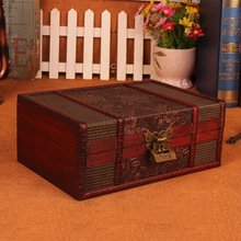 European vintage Wood box with lock storage box rectangle Desktop box antique wooden jewelry box(China)
