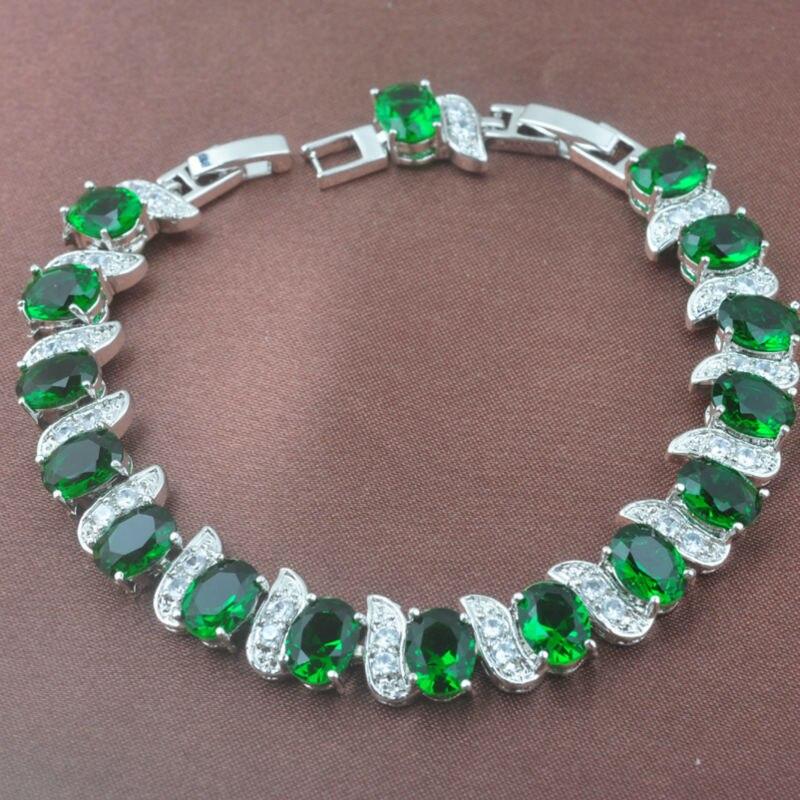 Flawless Green Zirconia Women's 925 Sterling Silver Crystal Jewelry Sets Bracelet Necklace Pendant Earrings Ring YZ090