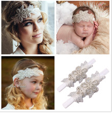 2017 Luxury Mom and Me Headband Rhinestone flowers with leaves Headbands Children hair Gilrls Headwear accessories 1Set