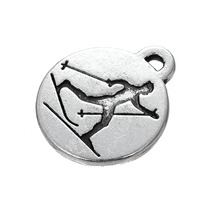 my shape 20Pcs Sports Cross Country Skiing Tibetan Silver Plated Engraved Charm Jewelry(China)