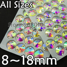 TopStone Sew On Glass Crystal Round Rivoli Stone Crystal Clear AB 8mm,10mm,12mm,14mm,16mm,18mm(China)