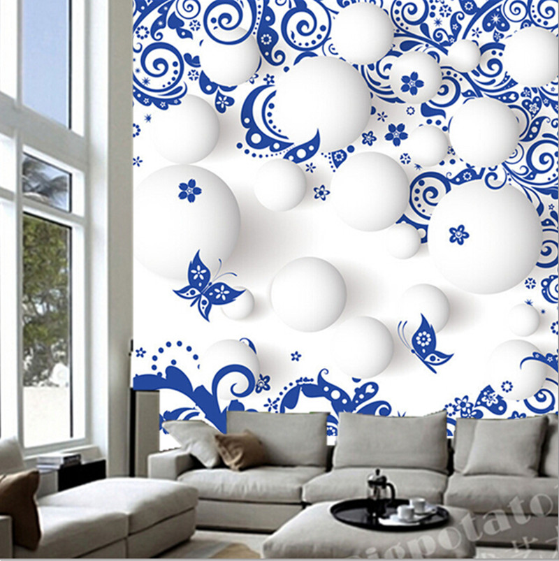 Custom Chinese 3d white ball blue and white porcelain murals,hotel restaurant coffee shop living room TV wall bedroom wallpaper<br>