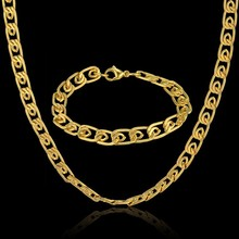 Men's Steel Chain Bracelet And Necklace Set For Men Chain Wholesale Vintage Dubai Gold Color Stainless Steel Jewelry Sets(China)