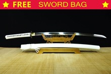 Free Sword Bag TOP Battle Ready Real T10 1095 Clay Tempered Steel Japan White Dragon Japanese Samurai Katana Warrior Sword #298
