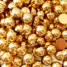 All Sizes Mine Gold Aurum Color Half Round Pearls Flatback ABS Resin Imitation Half Round Pearl For Nails Art Garments