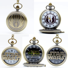 Fashion STAR WARS Jedi Order Black Dial Sci-fi movies Quartz Pocket Watch Analog Pendant Necklace Mens Watch Womens Watches Gift(China)