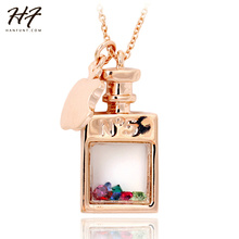 N549 Transparent Perfume bottle Rose Gold Color Fashion Pendant Necklace Jewelry Made with Austria Crystal Wholesale(China)