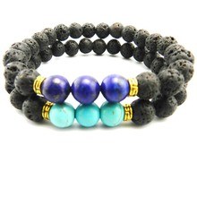 hot sell Products Wholesale Lava Stone Beads Natural Stone Bracelet, Men Jewelry, Stretch Yoga Bracelet(China)