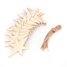 Hex Star Wooden Pendant Hanging Christmas Tree Ornament Wedding Party Decorations DIY Xmas Decors Art Craft Kids Gifts 10pcs/lot(China)