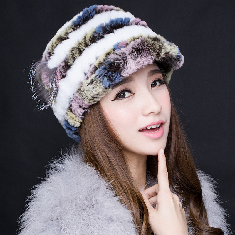Genuine Rex Colorful Fur Feather Snow Cap Winter Hats for Girls Skull Cap Real Fur Knitting Rabbit Skullies Beanies Women HatsОдежда и ак�е��уары<br><br><br>Aliexpress