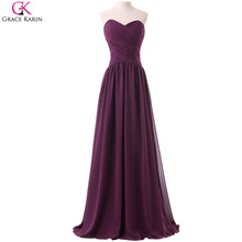 Long Chiffon Bridesmaid Dresses Grace Karin Strapless Elegant Formal Gowns Wedding Party Dress Plus Size Bridesmaids Dresses