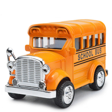 Classic 1:43 scale mini campus Retro school bus metal model diecast car pull back alloy toys with light and sound for children