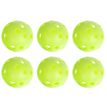 6pcs Plastic Whiffle Airflow Hollow Golf Practice Green Round Training Ball Outdoor Fun & Sports Toy Balls White/Light Green(China)