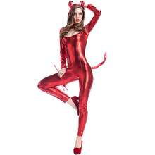 Nuevo Stock Sexy Lady Red Cat Devil Costume Pvc Guantes De Cuero Largo Mono Monstruo Demonio de Halloween Carnaval Cosplay
