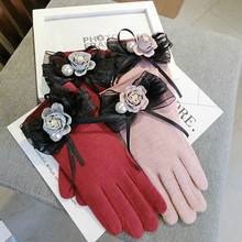 Korean touch screen cashmere bow flowers thickening cute warm women autumn winter pink gray red gloves mittens