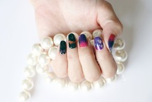 1 Set =  Nail Patch+Nail File +BLACK SKY+ Full Nail Sticker Nail Decorations for Manicure