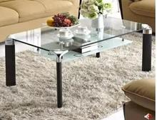 Free shipping Aluminium alloy rectangular toughened glass tea table