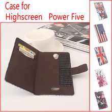 For Highscreen Power Five Phone Case Folio Flip Premium Pattern PU Leather Wallet Case with Cash and Card Slots Cover