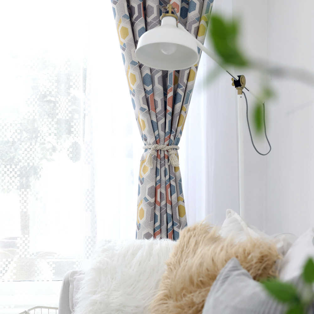 Fashion Curtain for Living Room for Bedroom Printed Window Treatment Drapes for Bedroom Colorful Pattern Blackout Curtains