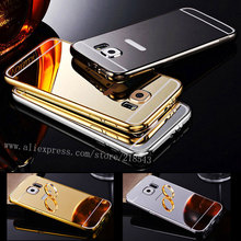 For Samsung Galaxy S6 SAMSUNG S6 Edge Case Luxury Gold Silver Plating Aluminum Frame + Mirror Acrylic S6 Back Cover Phone Cases