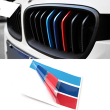 25cm*5cm 3X PVC Auto Car Styling Front Grill Stripe Decal M Sport Sticker For BMW X5 E53 M3 M5 M6 E46 E39 E60 E90 E36 F10 F30(China)