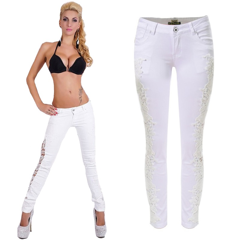 Casual jeans Women sexy lace patchwork hollow out skinny long pencil casual denim trousers SP2095Одежда и ак�е��уары<br><br><br>Aliexpress