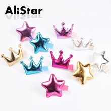 10pcs/lot Candy color pu leather hairpins Cute Fashion Star Crown Design Hairgrips bobby pins hair jewelry accessories #JH031