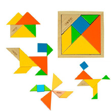 Brand BOHS Educational Toys Wooden Multicolour Tangram Child Jigsaw Puzzle High Quality(China)
