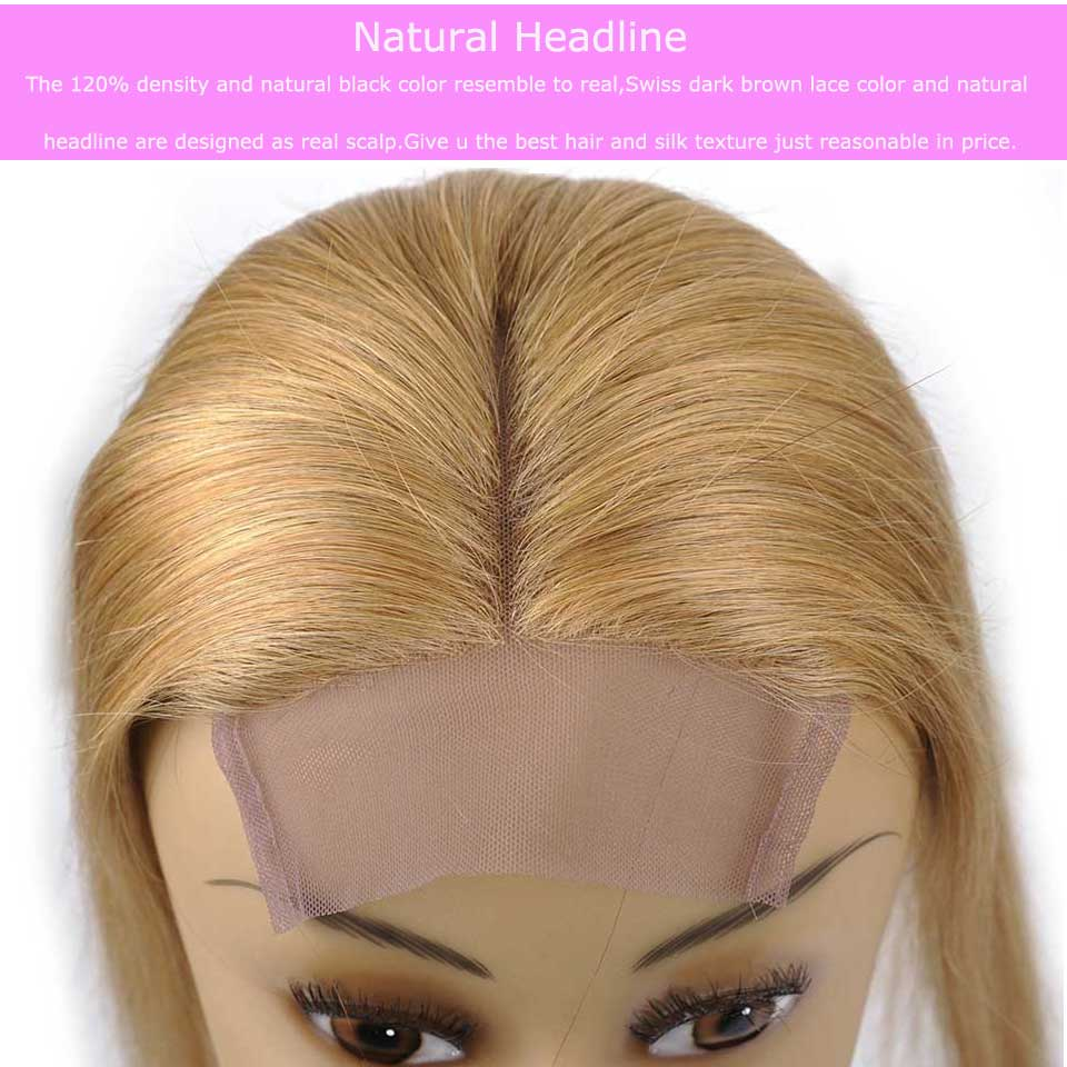 Peruvian Lace Closure Straight 27# Blonde 4×4 Middle Part Human Hair Shinig Star 120% Density Non Remy 10-18 Inch Free Shipping