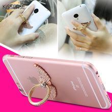 KISSCASE Metal Bling Diamond Finger Ring Case For iPhone 5S SE 6S 7 Plus For Samsung S8 Plus S5 S6 Huawei Mate 9 P10 Car Stand