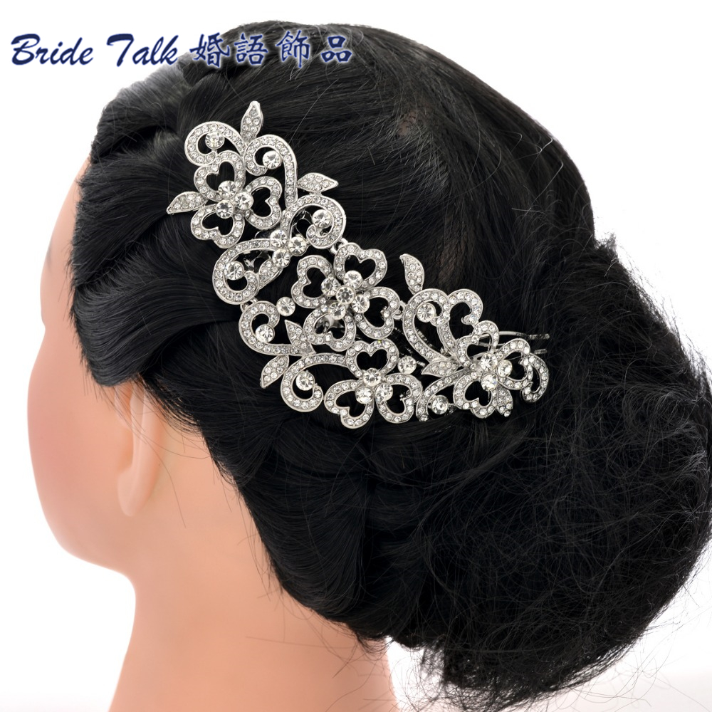 Big Long Flower Wedding Bridal Hairpins Hair Comb Hair Accessories Rhinestone Crystals FA5028(China (Mainland))