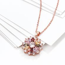Women's Rose Gold Plating Colorful Elegant Zircon Pendant Necklace Chain Fashion Fine Jewelry Gifts Collection For Women N088