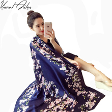 [Visual Axles] Navy Floral Silk Scarf Digital Print Real Silk Oblong Scarves and Bandana Female Oversize Fashion 2017(China)