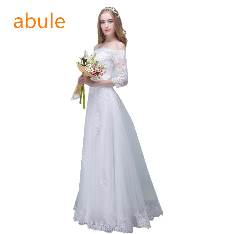 abule Wedding Dress Summer Sexy Lace Appliques Chiffon Boat neck beach Cheap price Robe De Mariage Bridal Gown Casamento
