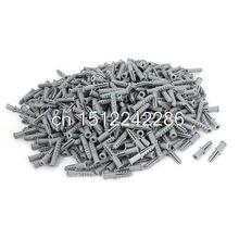 1000 Pcs Plastic Anti-rotation Wall Mounted Expansion Nail Plug Gray 5mm x 25mm