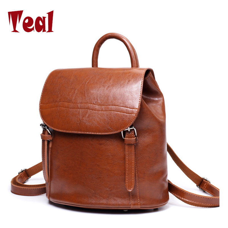 backpacks for teenage girls Oil wax leather backpack student retro College Wind small backpack childrens school backpacks<br>
