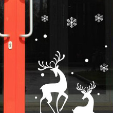 Wall Stickers Vinyl Christmas Shop Window Background Glass display White Snowflakes Reindeer Decorative  Removeable