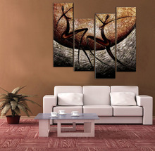 Hand Painted Wall Art Nude Painting Wall Picture For Living Room Canvas 4pcs Set Beauty Dance Home Decoration Landscape No Frame