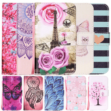 Leather Case sFor Motorola Moto E2 XT1524 E 2nd Gen Phone Case Rose Butterfly Elephant Peach Painting Cover Coque Free Shipping