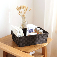 Natural Handmade Woven Straw Desktop Storage Boxes Office Remote Control Key Storage Grid Mesh Baskets Small Wicker Storage Box(China)
