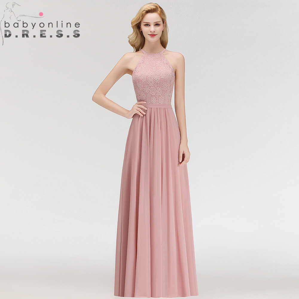 Babyonlinedress Halter Neck Lace Evening Dress Sexy A Line Pink Chiffon Evening Gown Abendkleider Robe De Soiree Longo