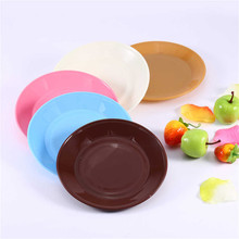 1Pcs Colorful Tableware Saucer Flat Plate Snack Seeds Food-grade Plastic Plates Snack Dish Kitchen Supplies Dishes Plates(China)