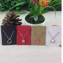 Free Shipping Blank Kraft  Pendant Card   Necklace Card 1lot=100 +100 opp bags Blank   Jewelry Card Can Custom Logo Cost Extra