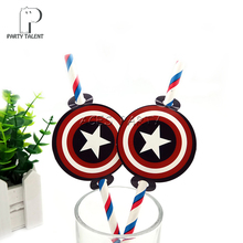 Party supplies 12pcs Super Hero Captain American theme straws party decoration biodegradable paper straw tube eco friendly(China)