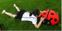 middle size Seven heart ladybug plush toy red and black ladybug pillow doll gift toy about 45cm(China)