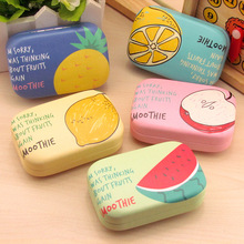 LIUSVENTINA cute fruit apple watermelon pineapple companion box leather box contact lens case lenses container