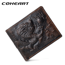 COHEART Genuine Leather Wallet Men 3D Dragon pattern purse male genuine leather wallet men cowhide money bag small Quality !(China)