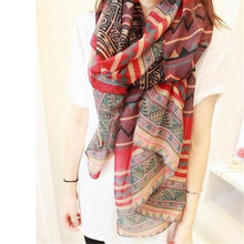 New Fashion Trendy Bohemian Women's Long Print Scarf Wrap Ladies Shawl Girl Large Pretty Scarf Tole Styles CC0624(China)